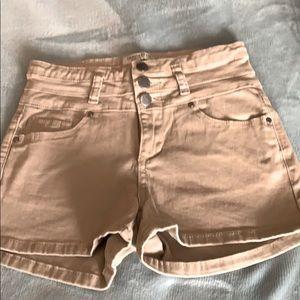 High Waisted Tan Jean Shorts